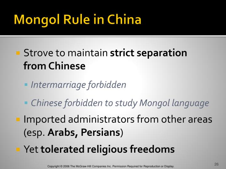 mongol rule russia and china Both china and russia were invaded violently by the mongols and were under direct mongol rule and authority in china the mongols eliminated the civil service exam and kicked the bureaucratic elite to the curb, while in russia the mongols installed a new dual system of regional administration and eventually let the local princes run the.
