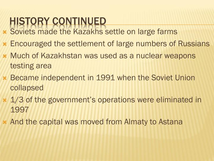 Soviets made the Kazakhs settle on large farms