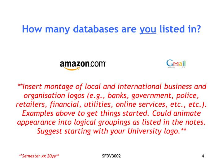 How many databases are
