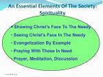 an essential elements of the society spirituality