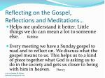 reflecting on the gospel reflections and meditations