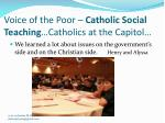 voice of the poor catholic social teaching catholics at the capitol