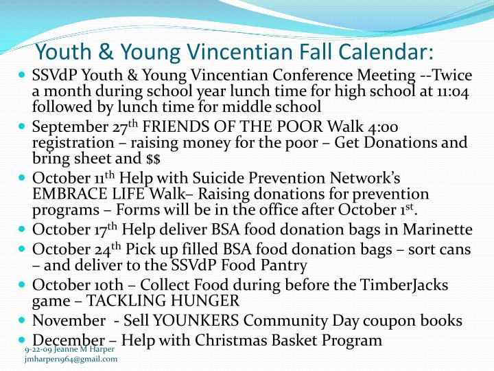 Youth & Young Vincentian Fall Calendar: