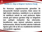 madde 61 bilgi ve belgeleri a klama yasa