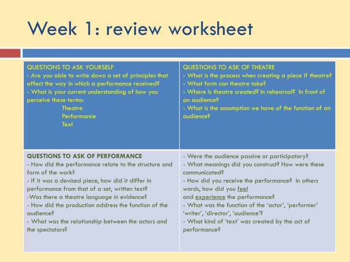 Week 1: review worksheet