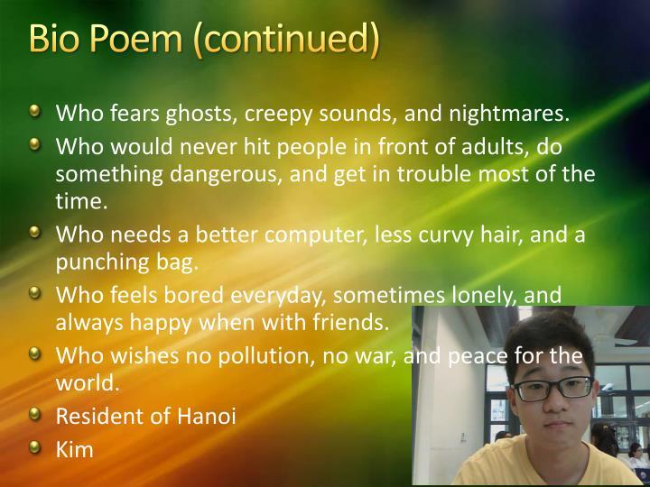 Bio Poem (continued)