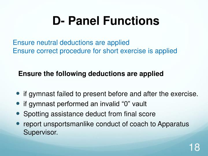 D- Panel Functions
