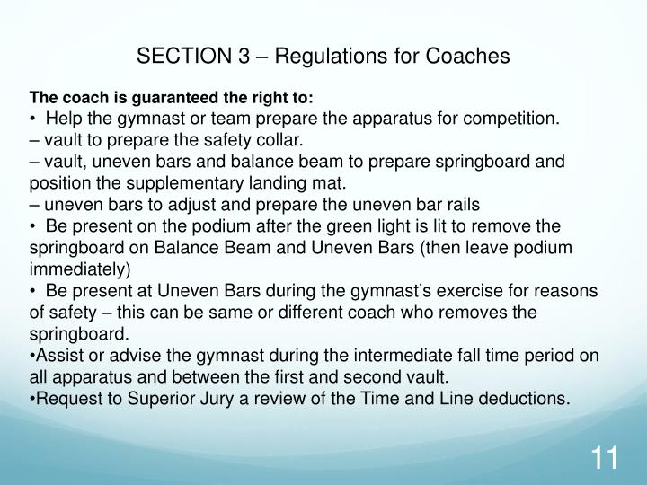 SECTION 3 – Regulations for Coaches