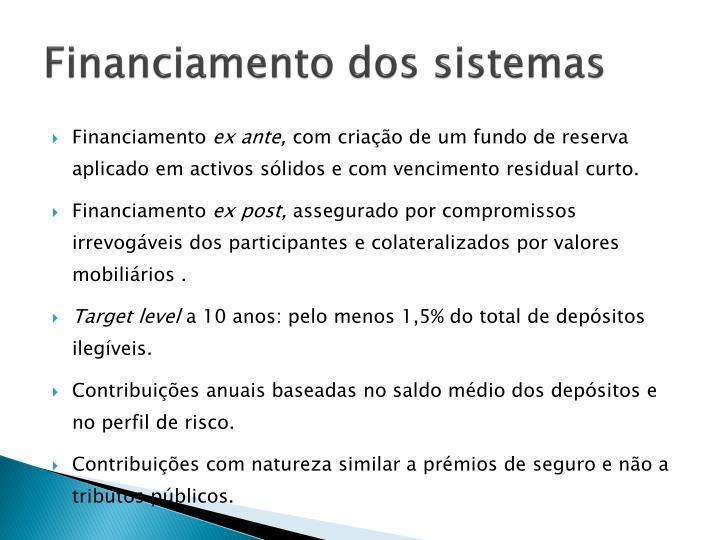 Financiamento dos sistemas