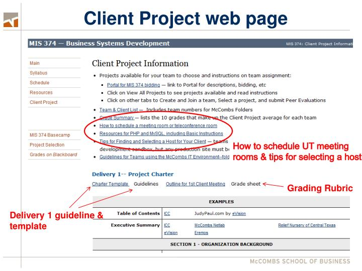 Client Project web page