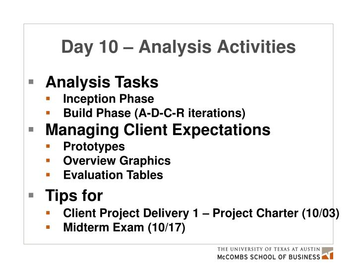 Day 10 – Analysis Activities