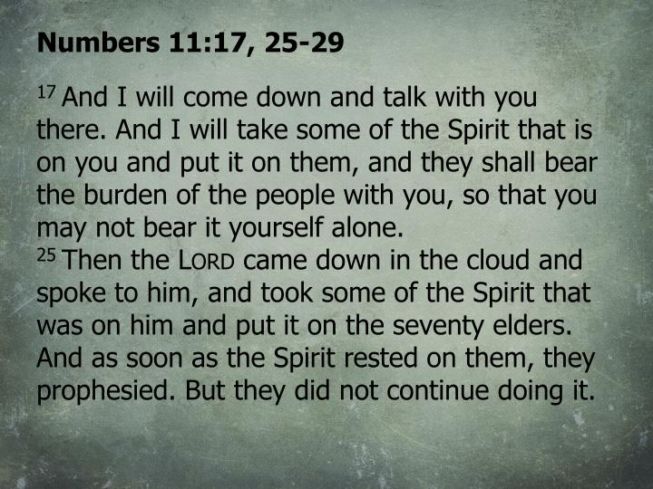 Numbers 11:17, 25-29