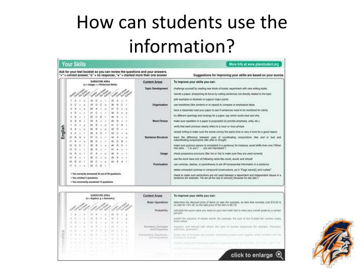 How can students use the information?