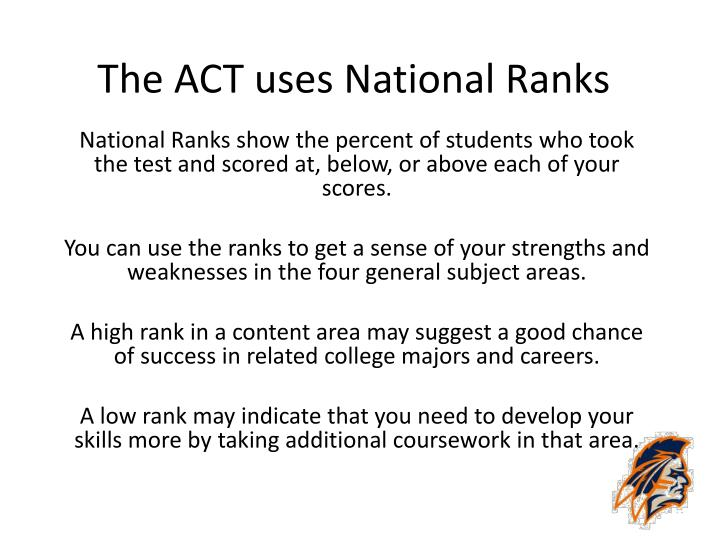 The ACT uses National Ranks