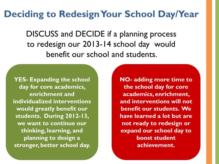 Deciding to Redesign Your School Day/Year