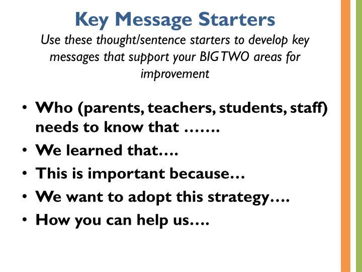 Key Message Starters