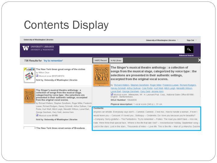 Contents Display