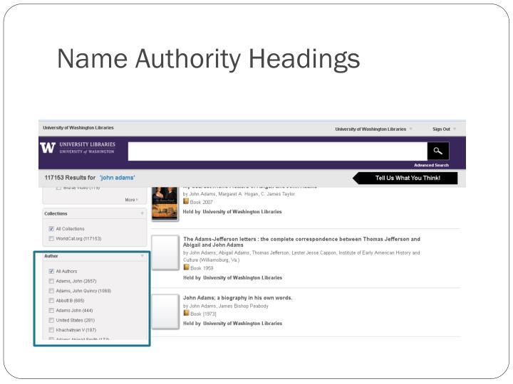 Name Authority Headings