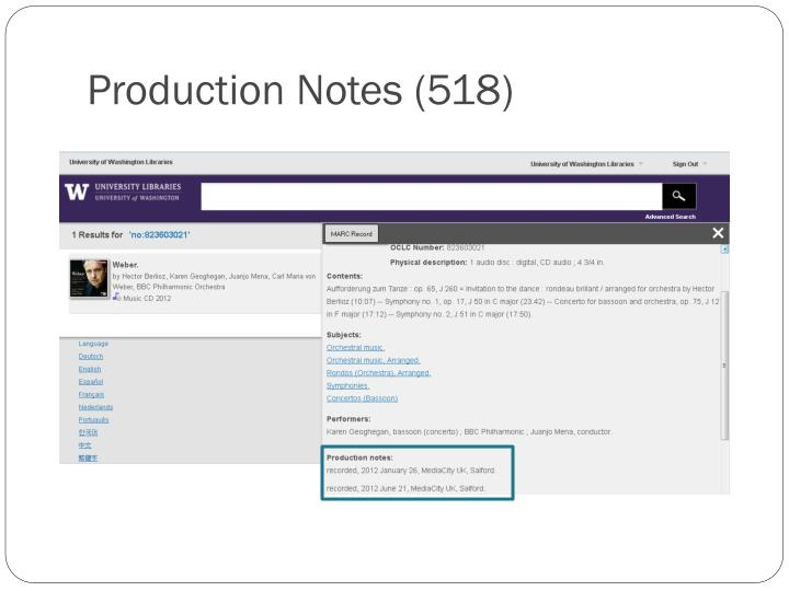 Production Notes (518)