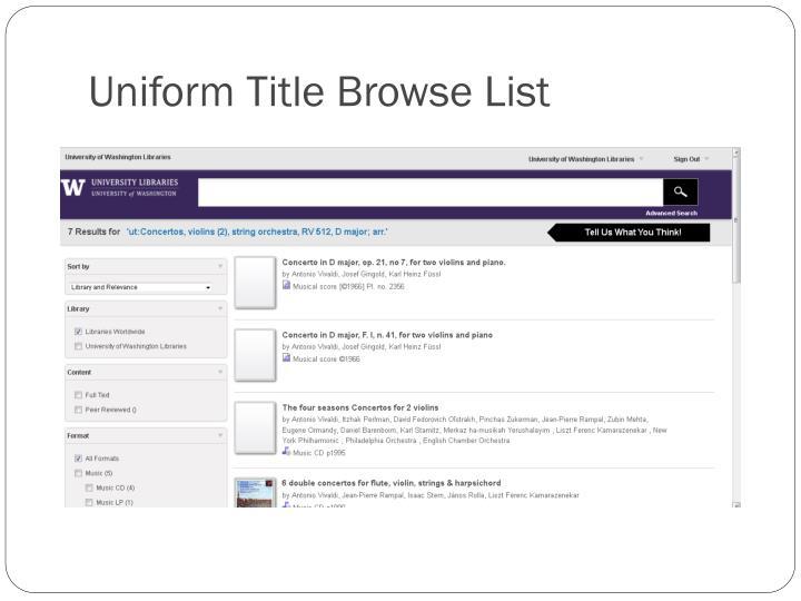 Uniform Title Browse List