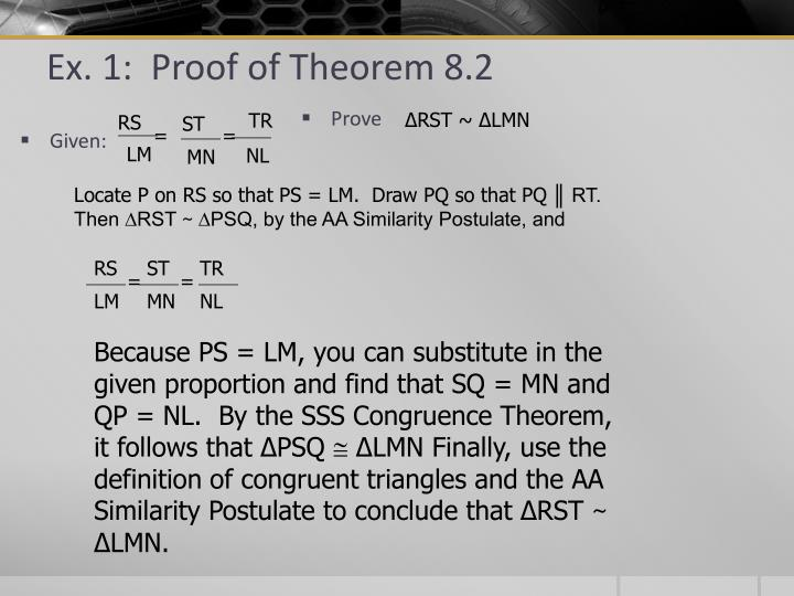 Ex. 1:  Proof of Theorem 8.2