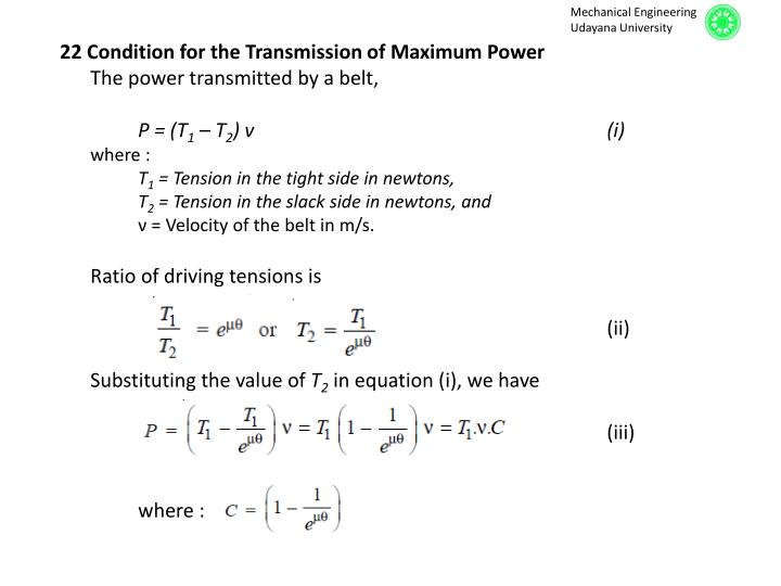 22 Condition for the Transmission of Maximum Power