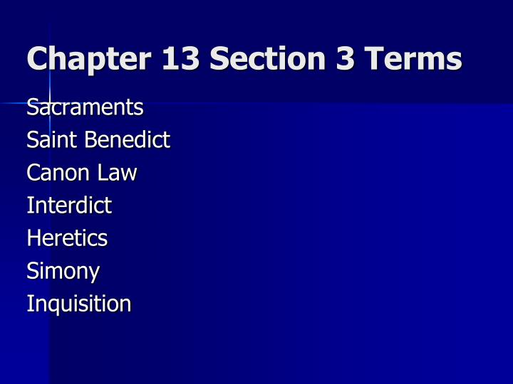 Chapter 13 section 3 terms