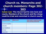 church vs monarchs and church members page 302 303