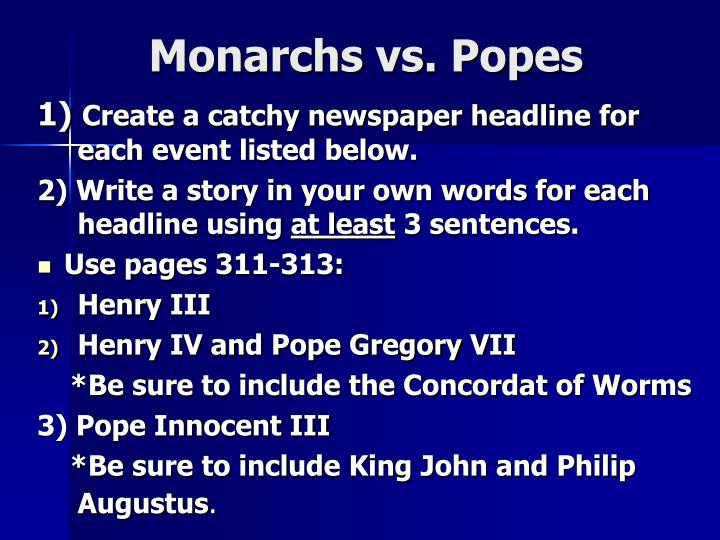 Monarchs vs. Popes