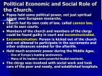 political economic and social role of the church