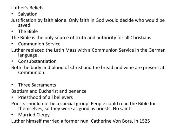 Luther's Beliefs