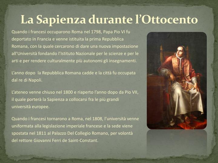 La Sapienza durante l'Ottocento