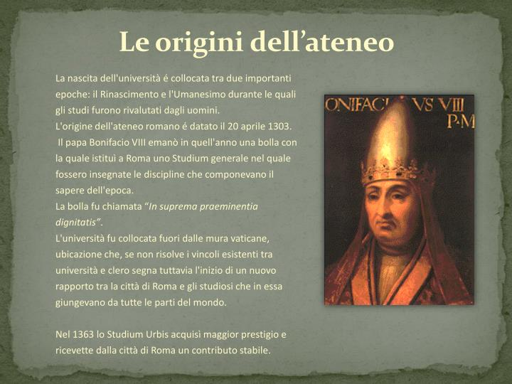 Le origini dell'ateneo