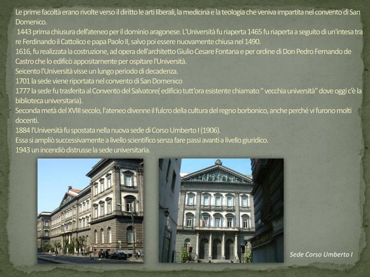 Le prime facoltà erano rivolte verso il diritto le arti liberali, la medicina e la teologia che veniva impartita nel convento di San Domenico.