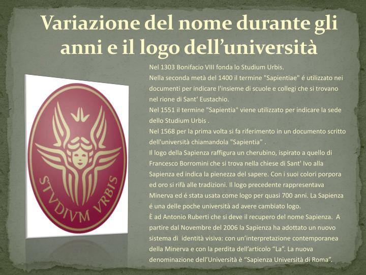 Variazione del nome durante gli anni e il logo dell'università