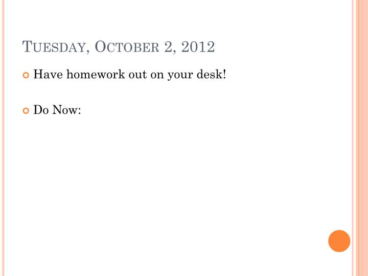 Tuesday, October 2, 2012