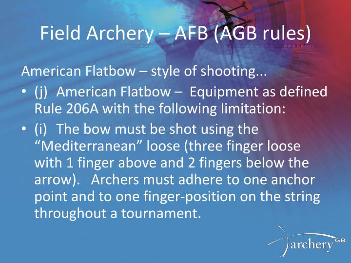 Field Archery – AFB (AGB rules)