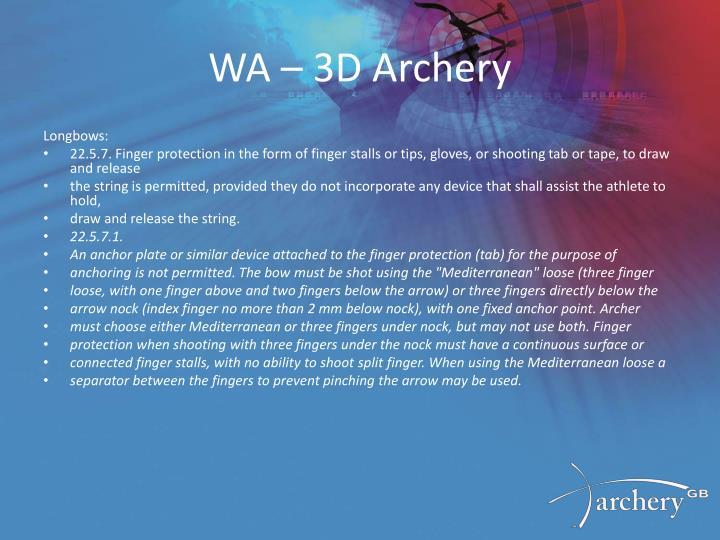 WA – 3D Archery