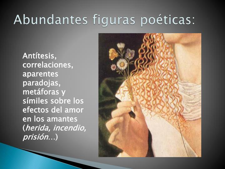Abundantes figuras poéticas: