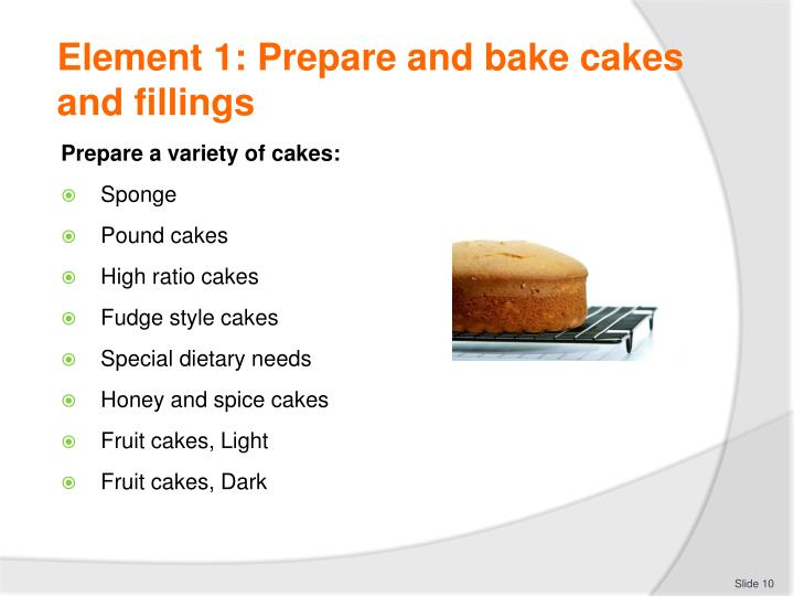 Element 1: Prepare and bake cakes and fillings