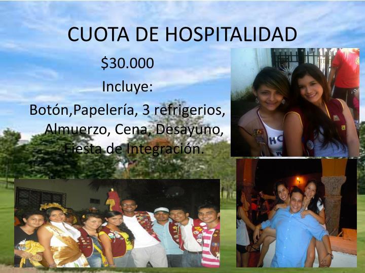 CUOTA DE HOSPITALIDAD