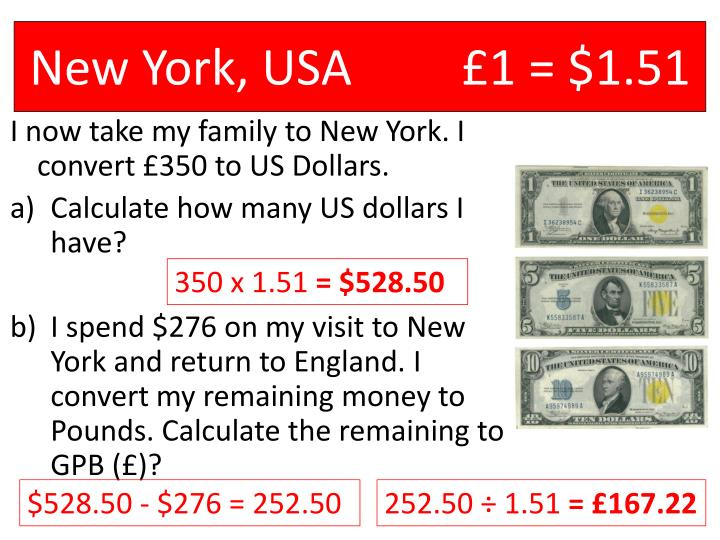 New York, USA		£1 = $1.51