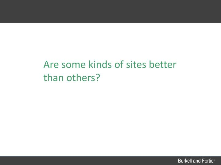 Are some kinds of sites better than others?