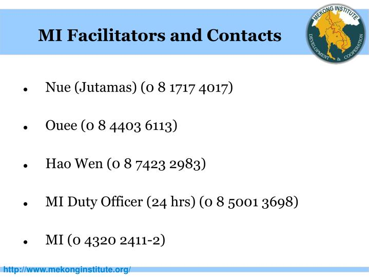 MI Facilitators and Contacts
