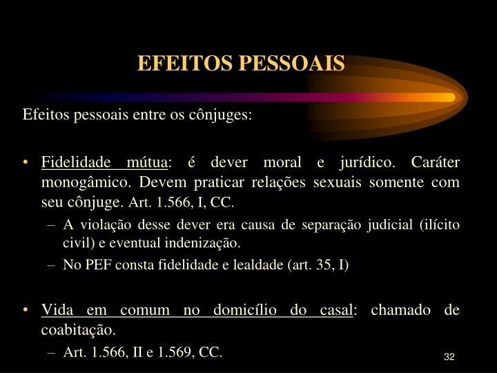 EFEITOS PESSOAIS