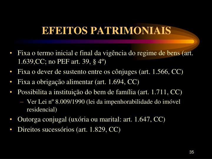 EFEITOS PATRIMONIAIS