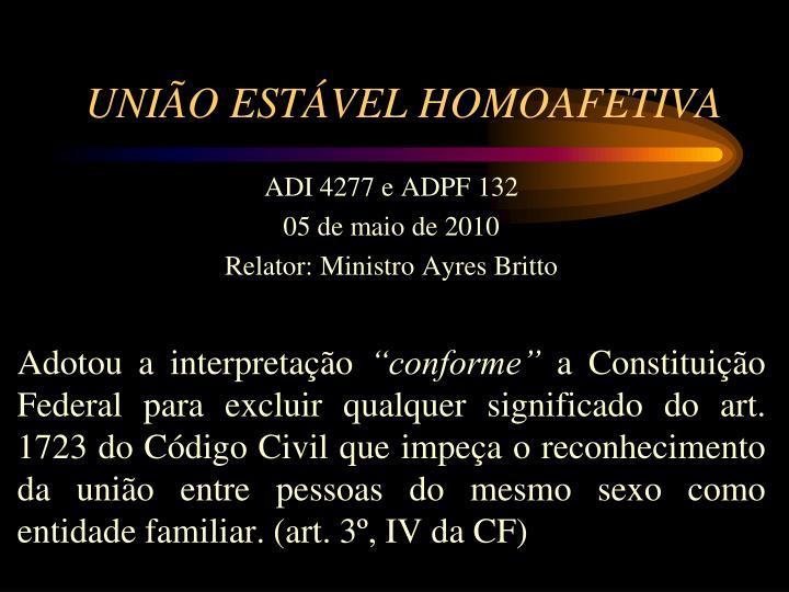 UNIÃO ESTÁVEL HOMOAFETIVA