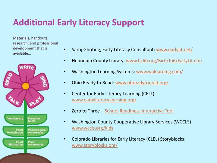 Additional Early Literacy Support