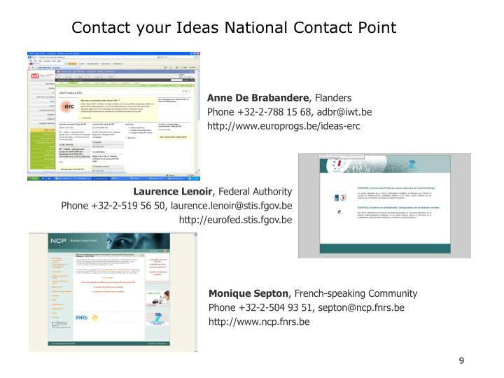 Contact your Ideas National Contact Point