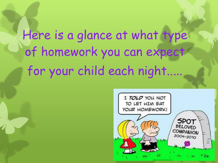 Here is a glance at what type of homework you can expect for your